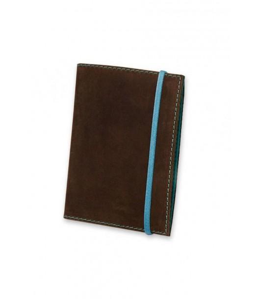 Женская кожаная обложка для паспорта 1.0 темно-коричневая с бирюзовым - BN-OP-1-o-t BlankNote
