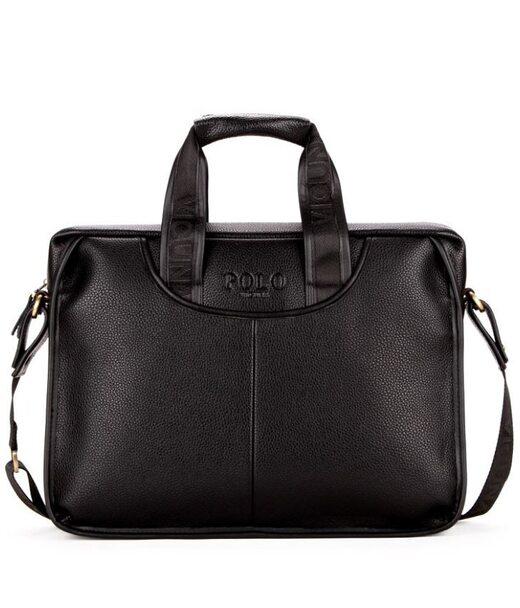 Чоловіча чорна ділова сумка Polo 6607