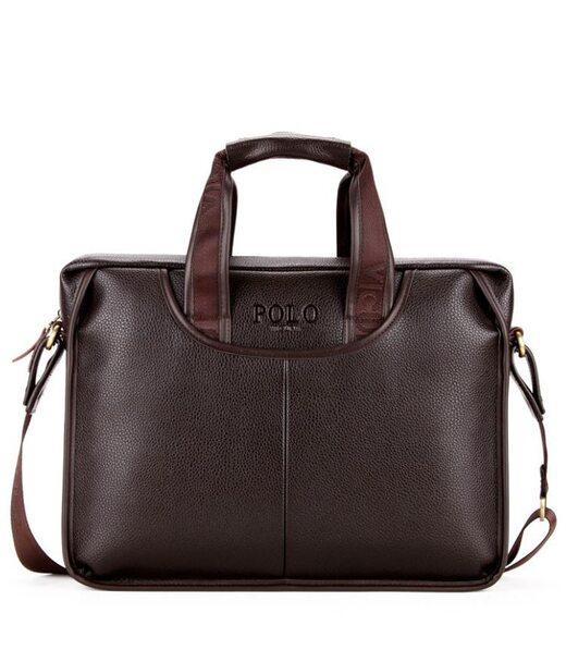Чоловіча коричнева ділова сумка Polo 6607