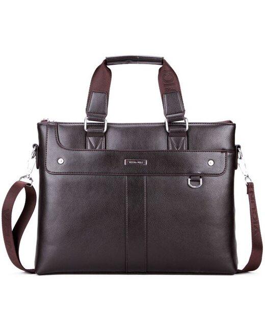 Чоловіча темно-коричнева ділова сумка Polo 6606-4