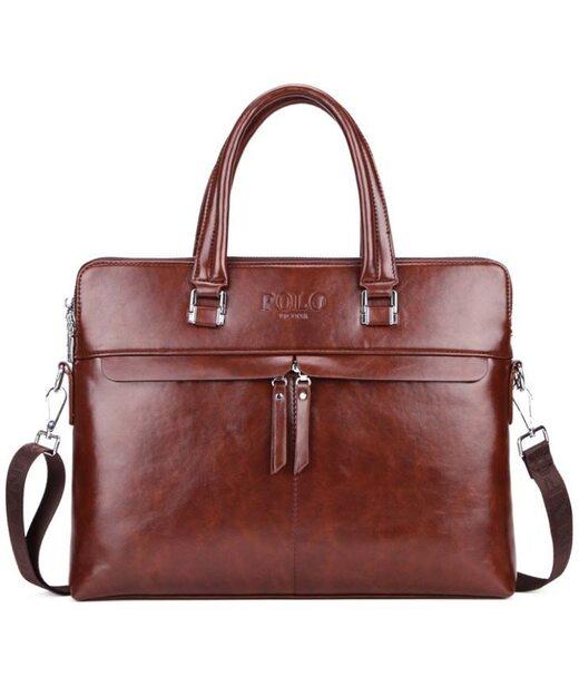 Чоловіча коричнева ділова сумка Polo 6604-4