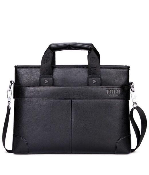 Чоловіча чорна ділова сумка Polo 6602-4