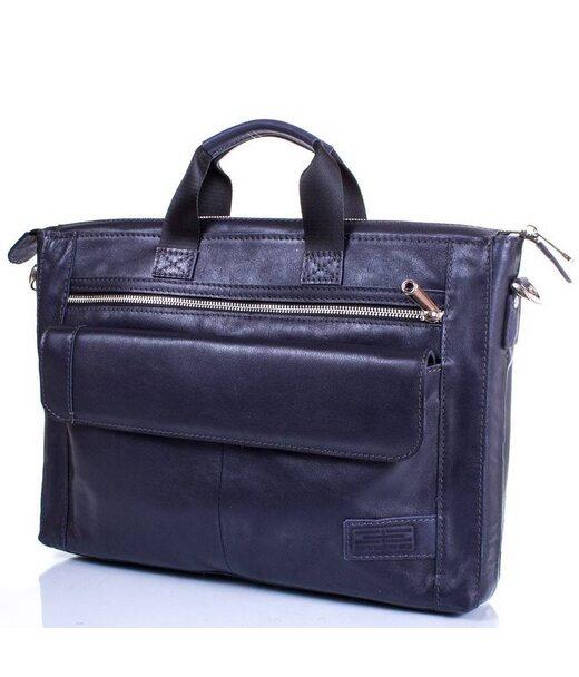 Шкіряна чоловіча синя сумка ETERNO ERM415BL