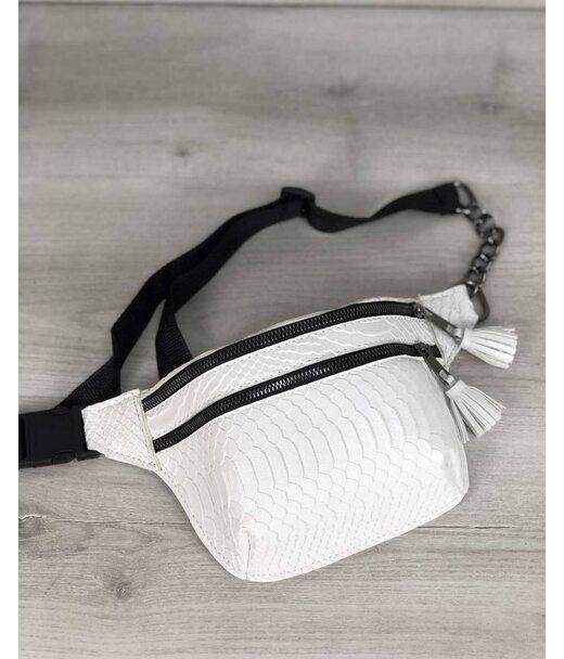 Стильная сумочка на пояс Элен белая рептилия WeLassie