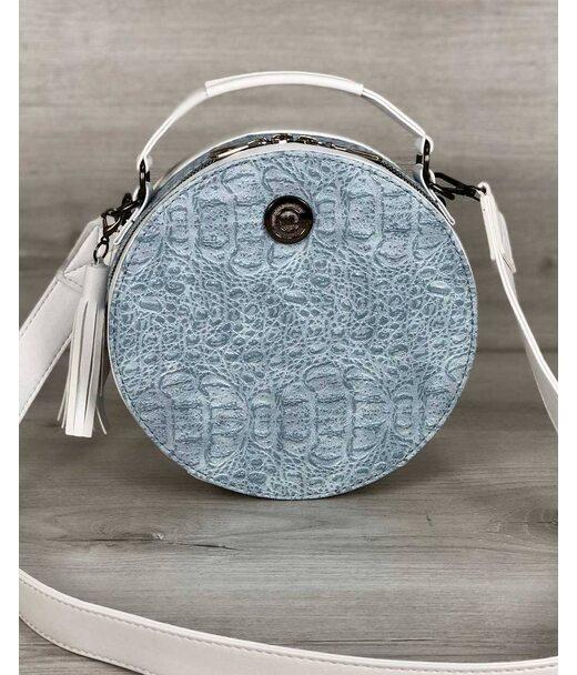 Стильна жіноча сумка Бріджит білого кольору з блакитною вставкою крокодил WeLassie