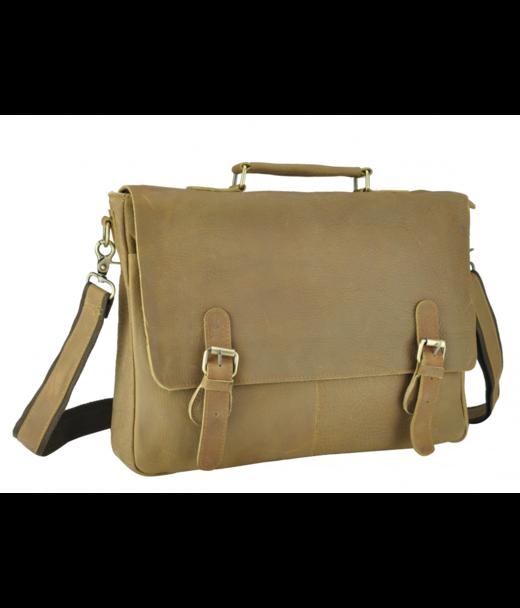 Коричневий шкіряний чоловічий портфель Tiding Bag t0021C