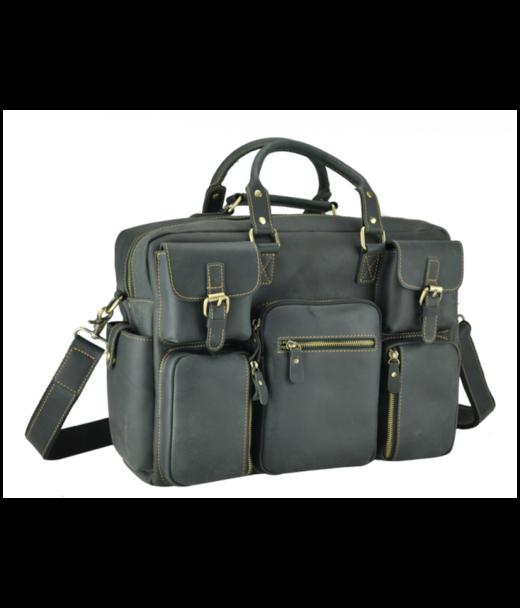 Сіра шкіряна чоловіча сумка Tiding Bag 7028RA