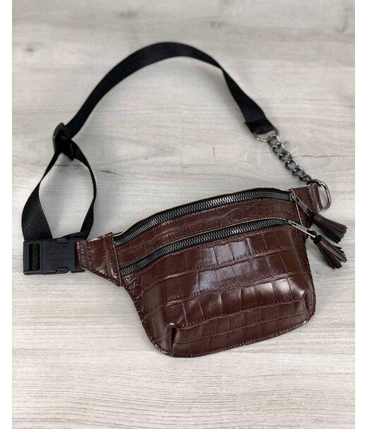 Стильна сумочка на пояс Елен коричневий крокодил WeLassie
