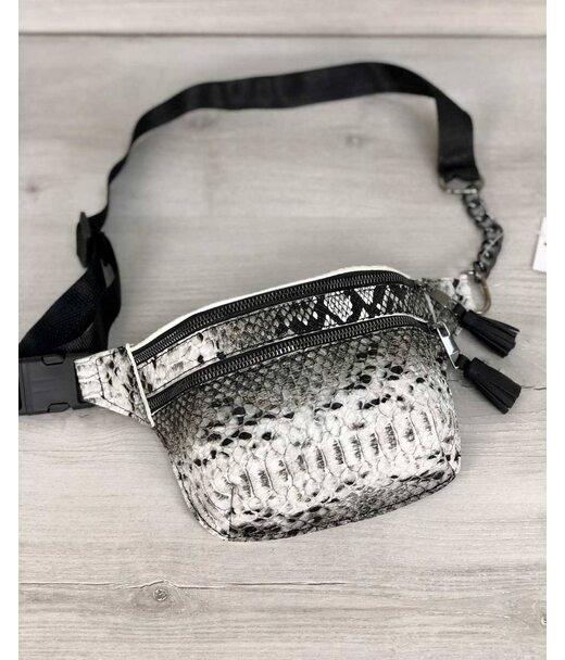 Стильная сумочка на пояс Элен черная и белая рептилия WeLassie