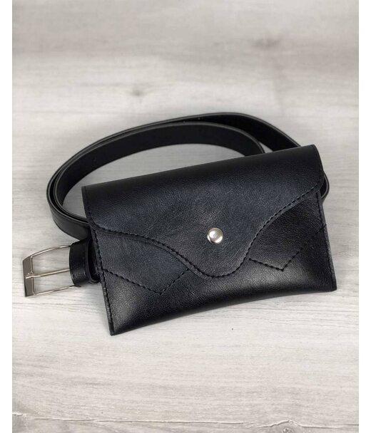 Жіноча сумка на пояс чорного кольору