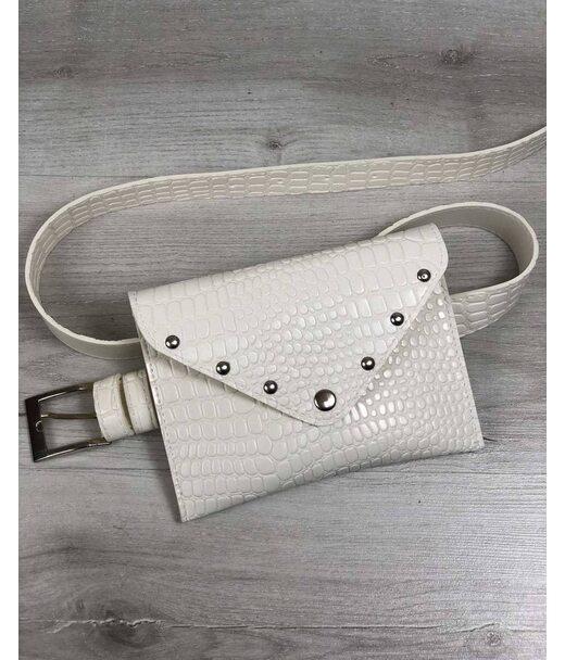 Жіноча сумка на пояс білий крокодил WeLassie