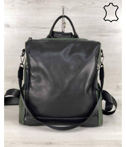 Шкіряна сумка-рюкзак Taus чорного з оливковою кольору WeLassie