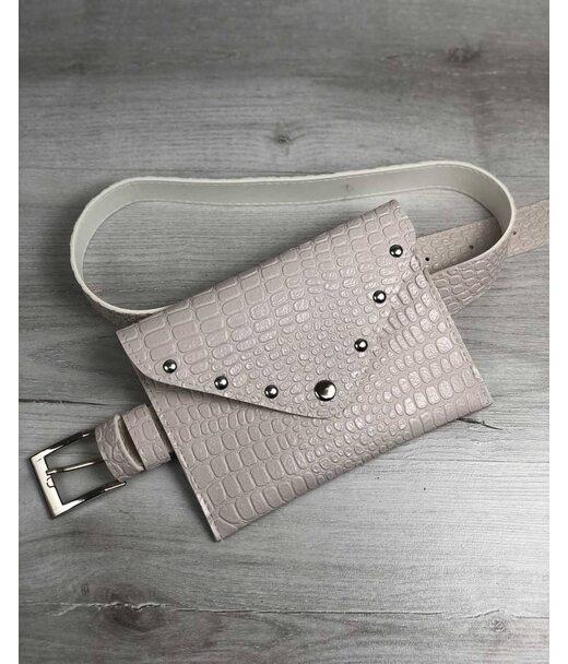 Жіноча сумка на пояс кремовий крокодил WeLassie