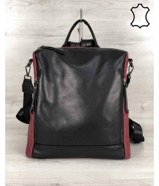 Шкіряна сумка-рюкзак Taus чорного з бордовим кольору WeLassie