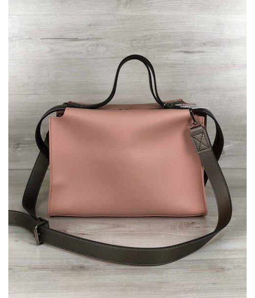 2в1 Стильна жіноча сумка Маліка персикового кольору WeLassie