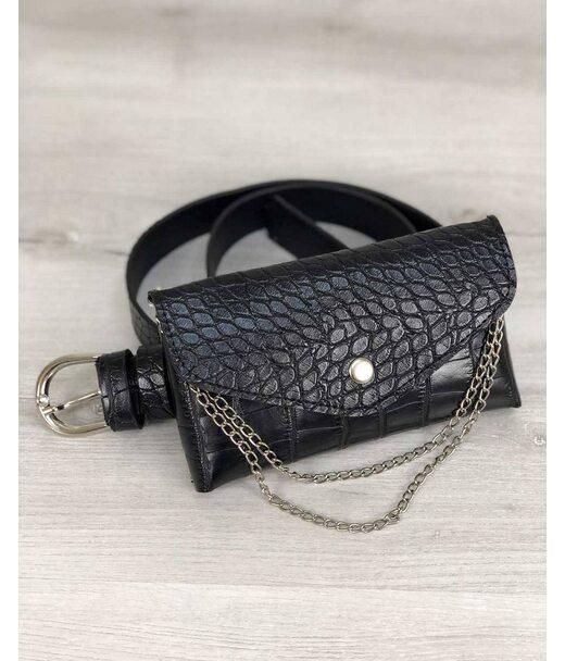 Жіноча сумка на пояс Айлін чорний крокодил WeLassie
