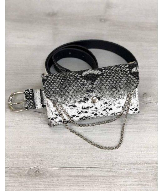 Жіноча сумка на пояс Айлін черо-біла змія WeLassie