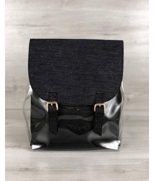 Молодіжний силіконовий рюкзак з косметичкою чорний блиск WeLassie
