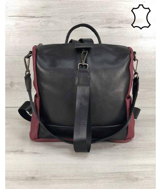 Шкіряна сумка-рюкзак Angelo чорного з бордовим кольору WeLassie