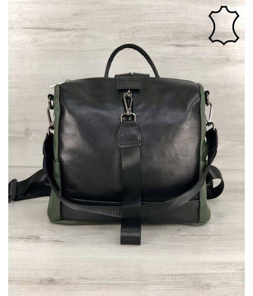 Шкіряна сумка-рюкзак Angelo чорного з оливковою кольору WeLassie