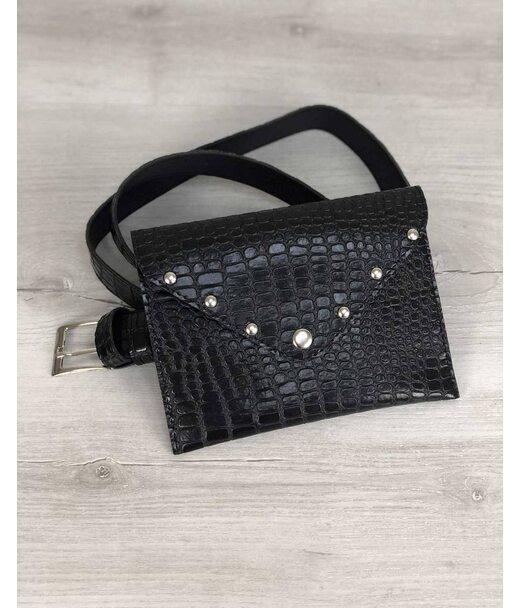 Жіноча сумка на пояс чорний крокодил WeLassie