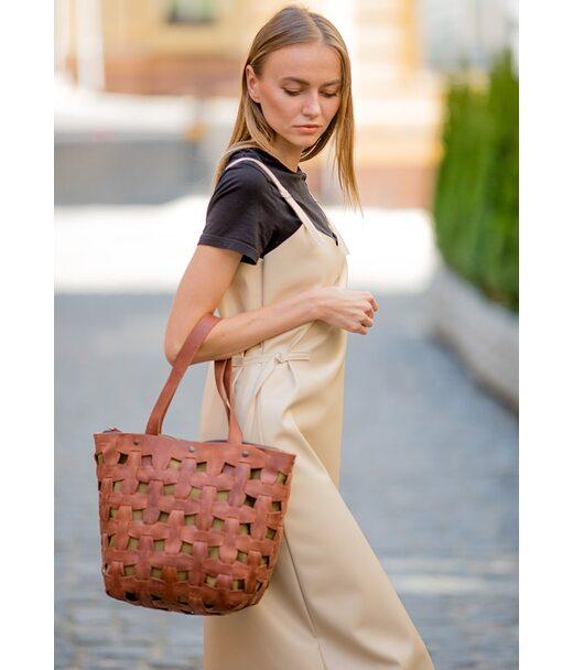 Шкіряна плетена жіноча сумка Пазл L світло-коричнева Crazy Horse - BN-BAG-33-k-kr BlankNote