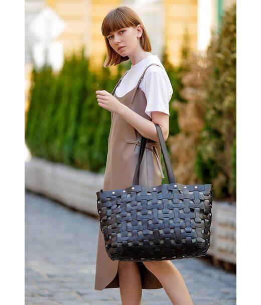 Шкіряна плетена жіноча сумка Пазл Xl чорна Krast - BN-BAG-34-g BlankNote