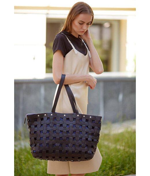 Шкіряна плетена жіноча сумка Пазл Xl чорна Crazy Horse - BN-BAG-34-g-kr BlankNote