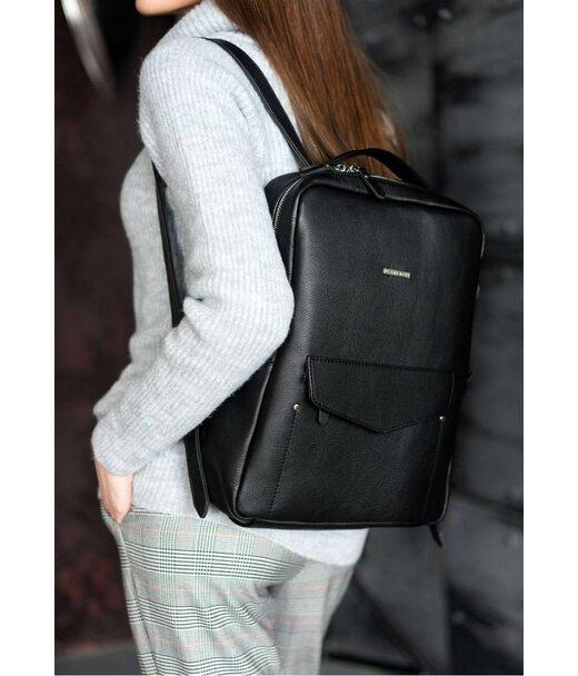 Кожаный женский городской рюкзак на молнии Cooper черный - BN-BAG-19-noir BlankNote