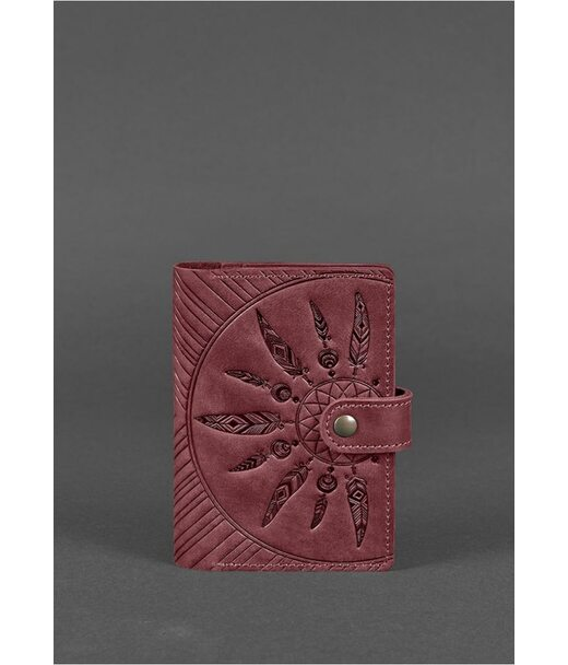 Женская кожаная обложка для паспорта 3.0 Инди бордовая - BN-OP-3-vin-ls BlankNote