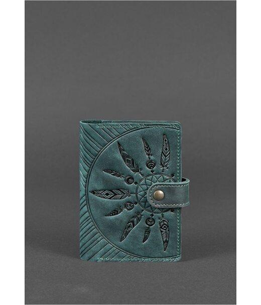 Женская кожаная обложка для паспорта 3.0 Инди зеленая - BN-OP-3-iz-ls BlankNote
