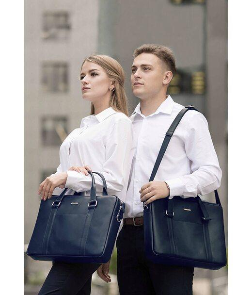 Шкіряна сумка для ноутбука і документів темно-синя - BN-BAG-37-navy-blue BlankNote