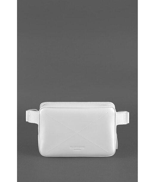 Шкіряна жіноча поясна сумка Dropbag Mini біла - BN-BAG-6-light-bw BlankNote