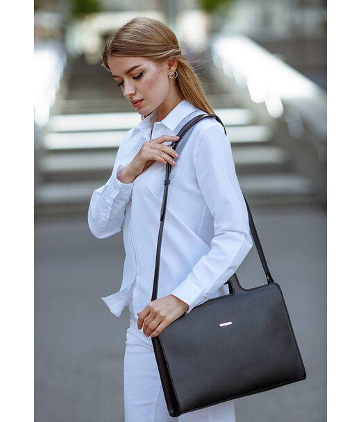 Жіноча шкіряна сумка для ноутбука і документів чорна - BN-BAG-36-g BlankNote