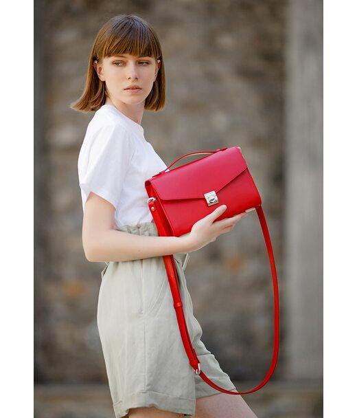 Жіноча шкіряна сумка-кроссбоді Lola червона - BN-BAG-35-ruby BlankNote