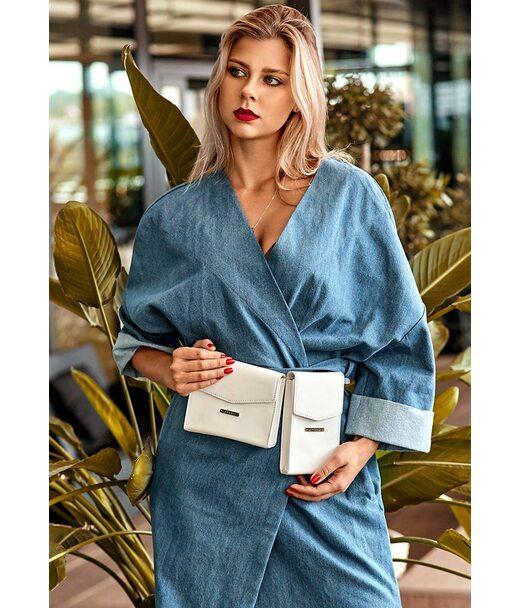 Набір жіночих білих шкіряних сумок Mini поясна/кроссбоді - BN-BAG-38-light BlankNote