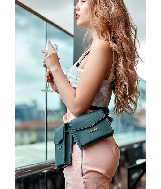 Набір жіночих зелених шкіряних сумок Mini поясна/кроссбоді - BN-BAG-38-malachite BlankNote