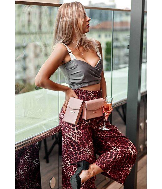 Набір рожевих жіночих шкіряних сумок Mini поясна/кроссбоді - BN-BAG-38-pink BlankNote