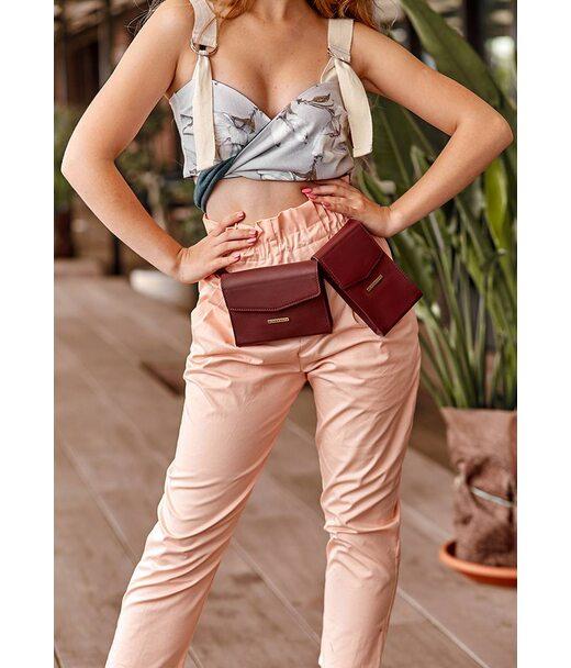 Набір жіночих бордових шкіряних сумок Mini поясна/кроссбоді - BN-BAG-38-vin BlankNote