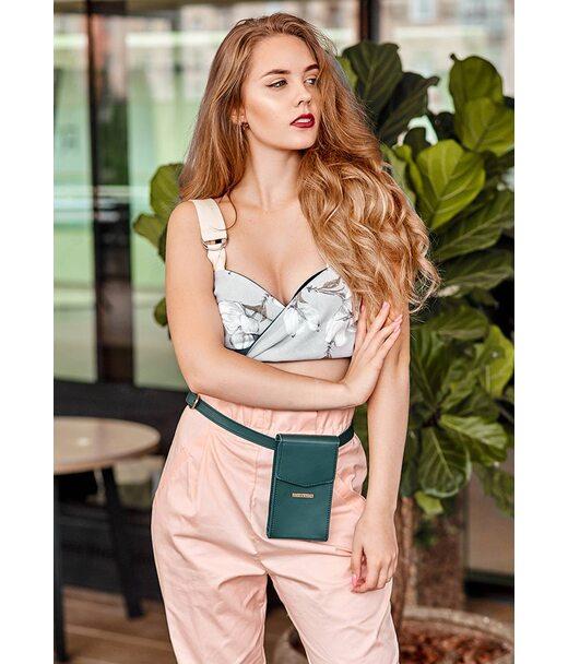 Вертикальна жіноча шкіряна сумка Mini поясна/кроссбоді зелена - BN-BAG-38-1-malachite BlankNote
