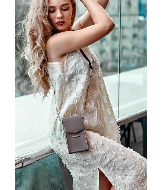 Вертикальна жіноча шкіряна сумка Mini темно-бежева поясна/кроссбоді - BN-BAG-38-1-beige BlankNote