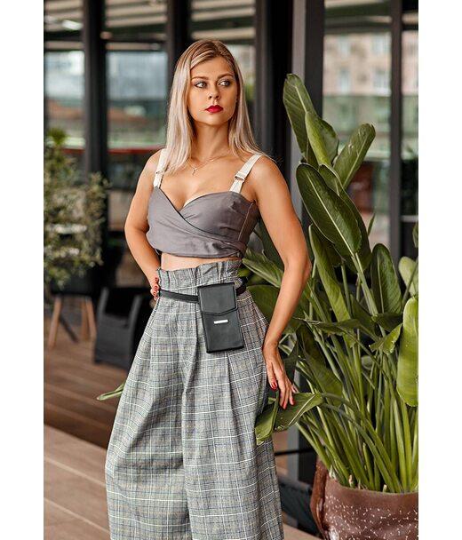 Вертикальна жіноча шкіряна сумка Mini чорна поясна/кроссбоді - BN-BAG-38-1-g BlankNote