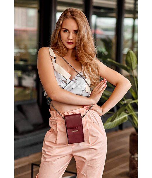 Вертикальна жіноча шкіряна сумка Mini поясна/кроссбоді бордова - BN-BAG-38-1-vin BlankNote
