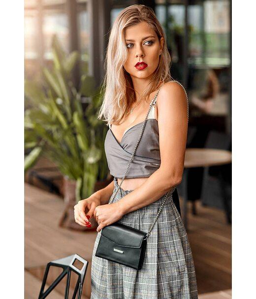 Жіноча шкіряна сумка поясна/кроссбоді Mini чорна - BN-BAG-38-2-g BlankNote