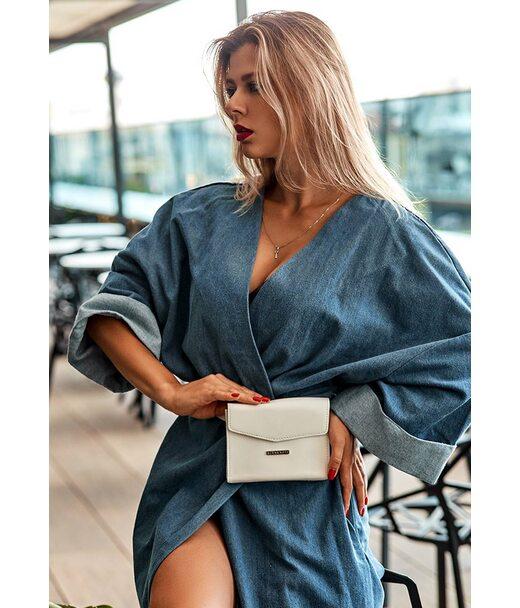 Жіноча шкіряна сумка поясна/кроссбоді Mini біла - BN-BAG-38-2-light BlankNote