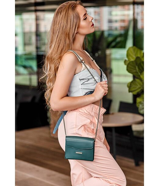 Жіноча шкіряна сумка поясна/кроссбоді Mini зелена - BN-BAG-38-2-malachite BlankNote