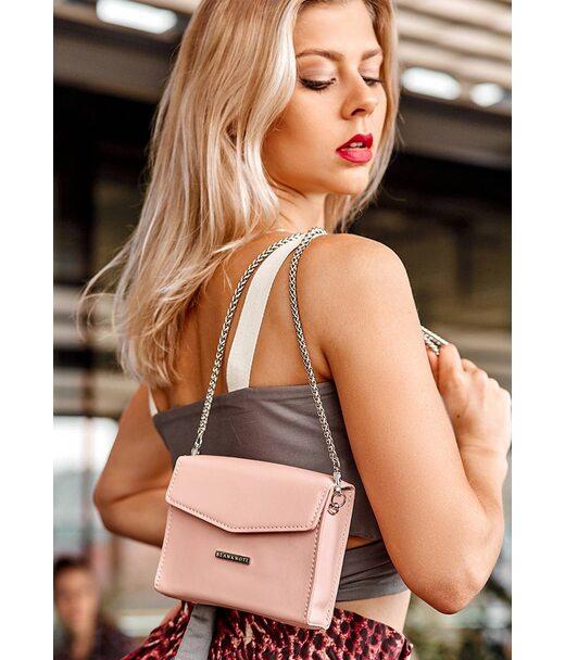 Жіноча шкіряна сумка поясна/кроссбоді Mini рожева - BN-BAG-38-2-pink BlankNote