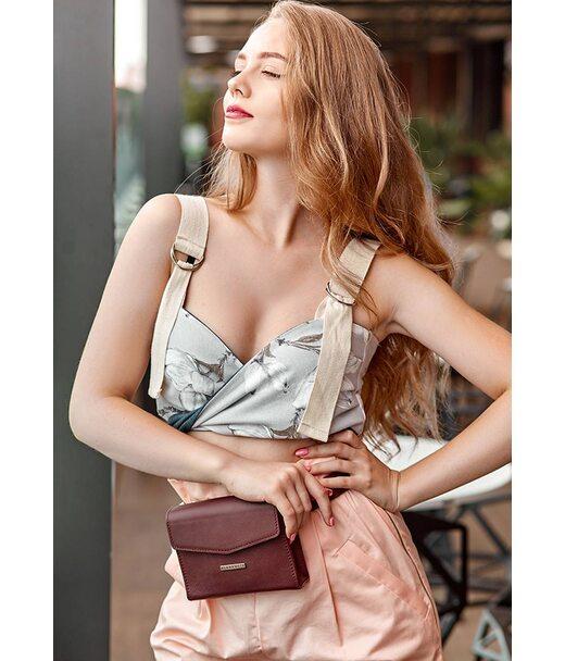 Жіноча шкіряна сумка поясна/кроссбоді Mini бордова - BN-BAG-38-2-vin BlankNote