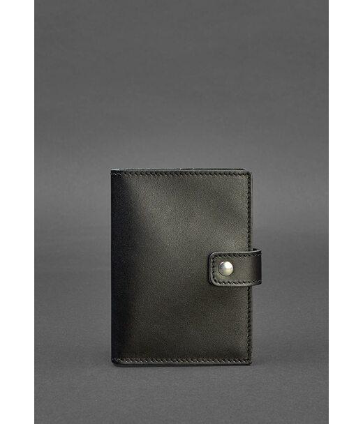 Кожаная обложка для паспорта 5.0 (с окошком) черная - BN-OP-5-g BlankNote