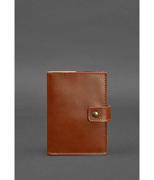 Кожаная обложка для паспорта 5.0 (с окошком) светло-коричневая - BN-OP-5-k BlankNote
